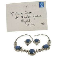 Preowned Ciner 1949 Rhinestone And Blue Glass Necklace And Earrings... ($524) ❤ liked on Polyvore featuring jewelry, blue, necklaces, blue bridal jewelry, chains jewelry, rhinestone jewelry, initial jewelry and blue jewelry