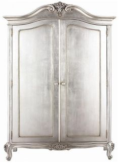 """""""Think I'll Silver Leaf that old armoire we have out in the garage"""" she said. I just wish I had an old armoire out in my garage! French Country Furniture, French Country Bedrooms, Shabby Chic Furniture, Antique Furniture, Country Bathrooms, Country Kitchen, Furniture Styles, Paint Furniture, Furniture Makeover"""
