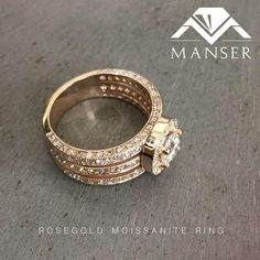 Centre band set with light pink Morganite stones. Moissanite Rings, Centre, Stones, Wedding Rings, Rose Gold, Engagement Rings, Jewels, Band, Enagement Rings