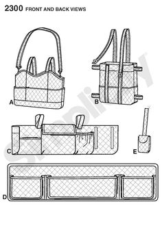 Walker bags and accessories. Sewing Pattern 2300 Simplicity