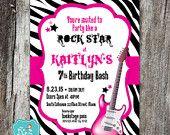 Rock star Birthday Invitation, Rock star Birthday, Rock out, Music, Zebra, Guitar, Customized, DIGITAL PRINTABLE FILE