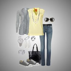 Casual yellow & gray - Polyvore