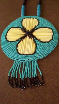 Native American Necklace Beaded Leather Porcupine Quill  Men or Women, Flower Petal, Turquoise Color