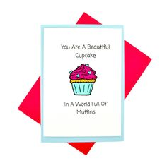 Greeting Card: Cupcake Muffin Card. Birthday Cards. Cute Greeting Card. Girlfirend Card. Best friend Greeting Card. Birthday. Bff Card! by PetitePolly on Etsy