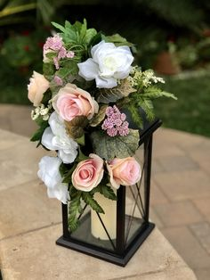 Discover thousands of images about Wedding Reception Lantern Decor Pew Flowers Floral Swags Lantern Centerpieces, Wedding Table Centerpieces, Reception Decorations, Centerpiece Ideas, Centerpiece Flowers, Quinceanera Centerpieces, Reception Ideas, Lantern Wedding Decorations, September Wedding Centerpieces