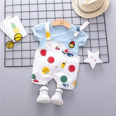 Summer Infant Toddler Clothes Suits Baby Girls Boys Clothing Sets T Shirt Strap Shorts Kids Children Casual Suit Baby & Toddler Clothing, Toddler Outfits, Kids Outfits, Infant Clothing, Infant Toddler, Baby Outfits Newborn, Baby Boy Outfits, Baby Girls, Baby Boy Dress