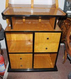 Art Deco Bookcase Shelf System Blonde Walnut Vintage Furniture Sideboard