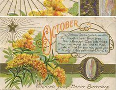 love this little vintage postcard, golden rod poem, vintage birthday, October themed vintage birthday postcard