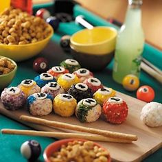 game night party ideas - food and decor! Make cakepop pool balls ! So super cute!!!!