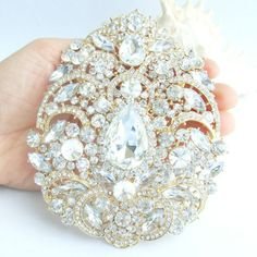 LARGE GOLD or SILVER Rhinestone Crystal Brooch by allysonjames