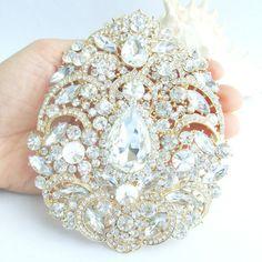 LARGE GOLD or SILVER Rhinestone Crystal Brooch by allysonjames