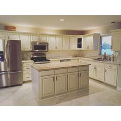 Painted Oak Cabinets Antique White with Brown Glaze Painting Oak Cabinets, Cabinet Paint Colors, Oak Kitchen Cabinets, Professional Painters, Painting Tips, Painted Furniture, Glaze, New Homes, Diy Projects