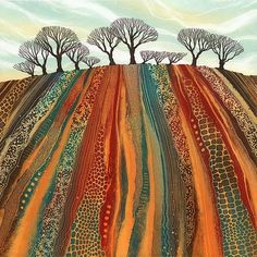 Giclee prints by Northumberland artist Rebecca Vincent. Inspirational for a landscape quilt. Landscape Art Quilts, Landscape Paintings, Landscapes, Abstract Landscape, Art Graphique, Naive Art, Art Plastique, Tree Art, Fabric Art