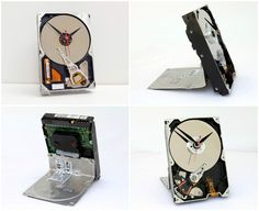 """Real 3 1/2 inch computer hard drive converted into a desk clock with a quartz drive movement installed. The clock measures roughly 4""""w x 6""""h, and runs on 1 AA battery. It's for sure the best gift for your favorite geek. ++Pixelthis #Clock, #Computer, #HardDrive, #Recycled"""