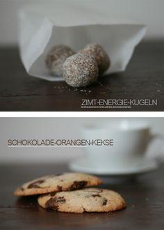 Zimt-Energie-Kugeln und Schokoladen-Orangen-Kekse