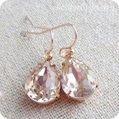 Swarovski Crystal Blush Pink Teardrop Simple by HeatherlyDesigns