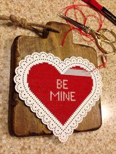 Working on my new Valentine cross stitch...