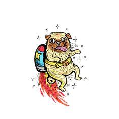 Space Pug  pug |  dogs |  illustration |  drawing |  art |  artwork |  sketchbook |  cartoon