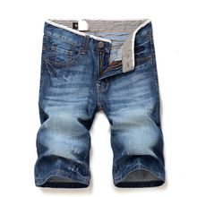 Knee Length Men's solid color 100%Cotton Straight denim shorts New summer male daily casual slim short jeans size 28-38(China (Mainland))