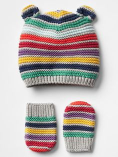 Multi-stripe bear hat & mitten set Product Image
