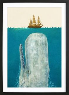 The Whale - Terry Fan - Poster in Wooden Frame