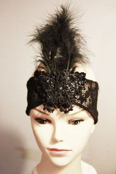 Black Feather Beaded Headband  20s 1920 Inspired by NAFEstudio, $62.00
