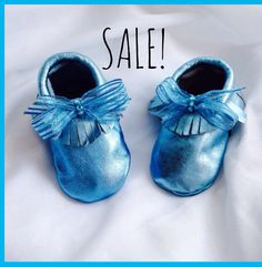 CLEARANCE: Metallic Blue Leather Moccasins Popular Trendy Baby Infant Size 6-12 Months Shoes w/Bow Ribbon & Rhinestones