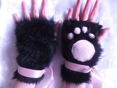Cute Black & Pink Furry Cosplay Cat Kitty Neko Paw Fingerless Gloves Wrist Warmers Kawaii Halloween Festival Costume