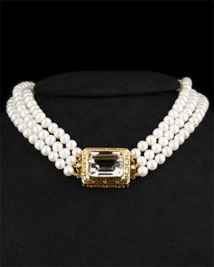 18K Topaz  Pearl Necklace