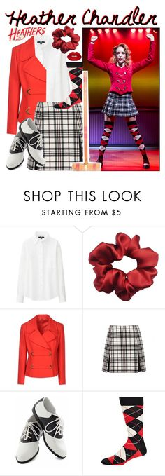 """""""Heather Chandler - Heathers"""" by amber2207 ❤ liked on Polyvore featuring Uniqlo, Carven, Pinup Couture, Happy Socks, Lime Crime and ambersmusicalbounds"""