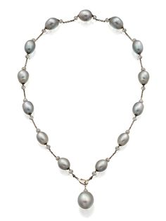 Platinum, South Sea Pearl and Diamond Necklace, Paspaley