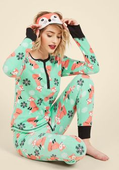 Nocturnal Yourself Out Pajama Set in Foxes - Blue, Pink, Print with Animals, Print, Lounge, Critters, Fall, Winter, Better, Critter Gifts, Under 50 Gifts, Holiday Gifts, Woven
