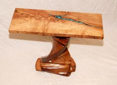 Mesquite Table with Turquoise Inlay