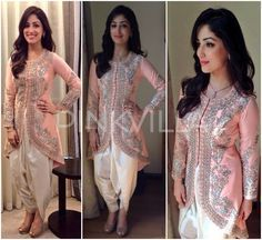 Yami Gautam in a peach embroidered tulip hem jacket and dhoti pants by Sonali Gupta with jewellery from Nazraana.