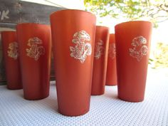 Vintage Copper Brown Tumblers with Mushrooms in by corrnucopia, $10.00