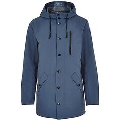 Blue cotton lightweight hooded jacket