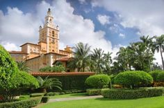 MEDITERRANEAN ~ The historic Coral Gables Biltmore Hotel displays the gracious, Mediterranean-style architecture often associated with South Florida. The centerpiece of the landmark hotel is its 93-foot, copper-clad tower, modeled after the Giralda Tower in Seville, Spain. The luxurious building features rich detail and high-end materials throughout, including marble columns, travertine floors and barrel-vaulted ceilings embellished with hand-painted frescos.