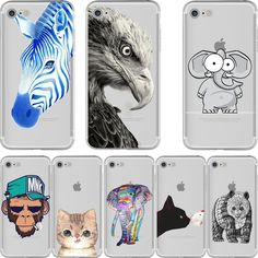Animals Elephant Cat Panda Zebra print Design Soft Silicone Clear TPU case Cover for Apple iphone 7 7plus 6 6plus 5S SE