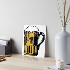 'Cold Beer' Art Board Print by Beer-Bones Beer Art, Velcro Dots, Watercolor Texture, Best Beer, Art Boards, Bones, Print Design, My Arts, Cold
