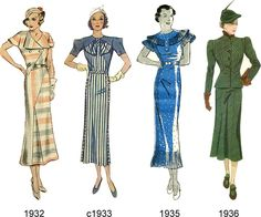 Poirot Era early-mid 30s  Around 1929 the waistline began to re-emerge, but was not accentuated. Through most of the 1930s the silhouette remained long and lean; hemlines hung around mid-calf. This is the era of bias-cut gowns and floaty florals. Popular detailing during this period included puffed, flutter or frilly layered sleeves, and neckline interest in the form of bows and jabots.