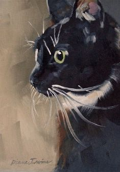 Tuxedo Cat Profile.  Original oil painting of a cute tuxedo cat from the local shelter.  5 x 7 inches by Diane Irvine Armitage.