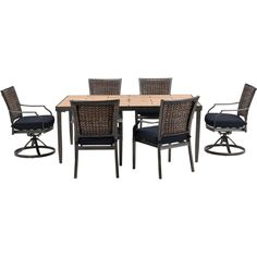 Mercer7pc Dining Set: Porcelain Tile Top Table, 2 Swivel Chairs, 4 Dining  Chairs