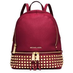 Michael Michael Kors Cherry Rhea Zip Small Backpack ($201) ❤ liked on Polyvore featuring bags, backpacks, cherry, red leather backpack, leather daypack, leather backpack, tablet backpack and stitch backpack
