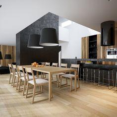 aménagement cuisine blanche, noire et bois avec grandes lampes en suspensions noires
