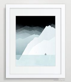 Minimal Poster Modern Landscape Art Nautical Decor by evesand