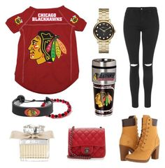 """""""NHL (Blackhawks)"""" by monadaily365 ❤ liked on Polyvore featuring Marc by Marc Jacobs, GameWear, Chloé, Chanel, Topshop, Timberland and TeamColorsByCarrie"""