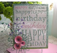 Bibiana, writer of the Memorybox Spanish blog, created this card to celebrate the anniversary of the blog. She in laid pink card to highlight the small words in this 2014 Memorybox Happy Birthday diecut then embellished with die cuts from previously released dies.