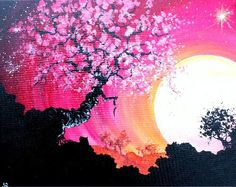 Moon and Blossoms. Paint Nite.