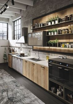 Modern Kitchen Design : Industrial And Rustic Loft Kitchen By Snaidero