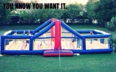 Bouncy volleyball court...this looks awesome. I really want to try it!